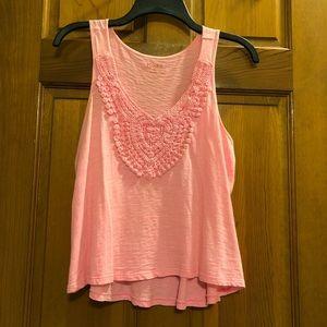 Pink Lace V-neck Flowy Tank Top Size S